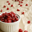 Stock Photo: Dried sweet cherries in white ramekin