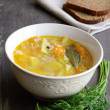 Bowl of homemade fish soup served with dark bread and dill — Stock Photo