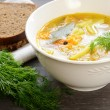 Bowl of homemade fish soup served with dark bread and dill - Stock Photo