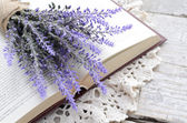 Bunch of lavender laying upon open book on vintage crocheted doi — Стоковое фото