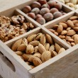 Nut mix in wooden box - walnut, almond, hazelnut, cashew and pea — Stock Photo