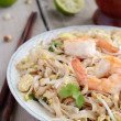 Phad Thai -stir-fried rice noodles with prawns — Stock Photo