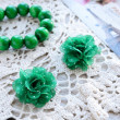 Green flowers hair pins — Stock Photo #24072009
