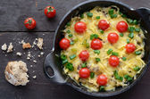 Homemade baked minced meat with cheese and cherry tomatoes — Stock Photo