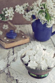 Still life in vintage style with meringue kisses and cherry flow — Foto Stock