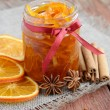Homemade candied peels orange jam in glass jar — Stock Photo #26060631