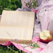 Apple and open book in green grass — Stock Photo