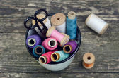 Thread spools vintage collection — Stock Photo