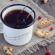 Cup of teand cranberry biscotti — Stock Photo #28363671