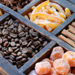 Stock Photo: Coffee beans, kumquats and spices