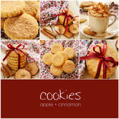 Apple cinnamon cookies collage with copyspace — Stock Photo