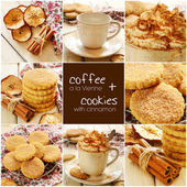 Coffee a la Vienne and apple cinnamon cookies set — Stock Photo