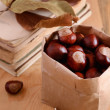 Chestnuts in craft bag on rusted background — Stock Photo