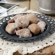 Sun dried figs, retro shots, coffee cup and coffee pot — Stock Photo