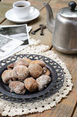 Dried figs, coffee pot, cup of coffee and vintage cards — Stock Photo