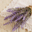 Bunch of lavender on vintage lace doily — Stock Photo