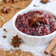 Homemade plum chutney and spices — Stock Photo