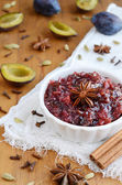 Homemade plum chutney topped with star anise — Foto Stock