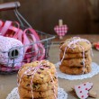 Cranberry cookies and basket with red and white ribbons, twine a — Stock Photo #37396135