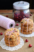 Cookies and red and white twine spool — Stock Photo