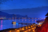 Sunset over the Tamsui River, northern Taiwan — Stockfoto