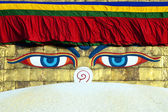 Buddha eyes on Bodhnath stupa in Kathmandu — Stock Photo