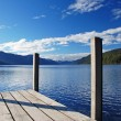Stock Photo: Pier on lake Rotoroa, New Zealand