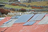 Improvised solar panels in the villages in Khumbu region, Himalayas, Nepal — Stock Photo