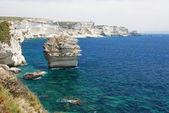 Dramatic sandstone coastline, Bonifacio, Corsica, France — Stock Photo