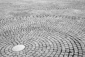 Stone circle paving, Black&White — Stock Photo