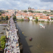 Stock Photo: Walkway on Charles Bridge with Prague Castle in background