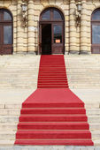 Stone staircase with red carpet — Stock Photo