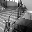 Staircase with railings, indoor, black&white — Stock Photo #13122693