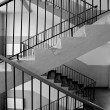 Staircase with railings, indoor, black&white — Stock Photo