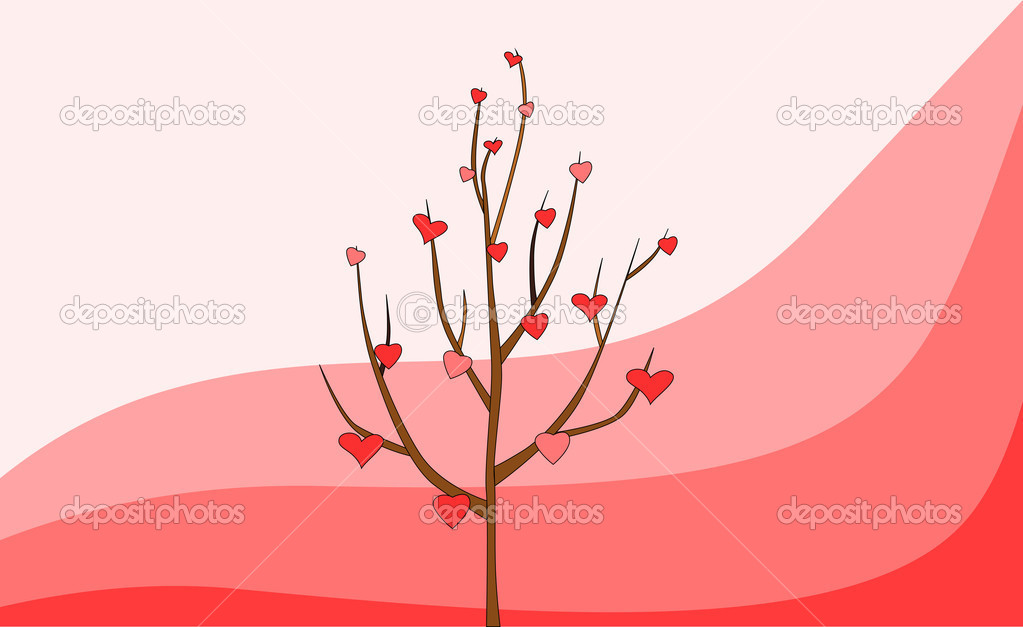 Tree with hearts on pink background, vector — Stock Vector #19714005