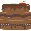Chocolate cake — Stock Vector
