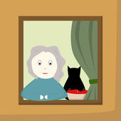 Grandmother in a window — Stock Vector