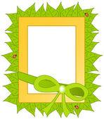 Marco amarillo con hojas — Vector de stock