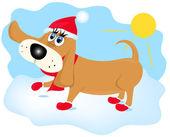 Kışın yürüyen köpek — Stok Vektör