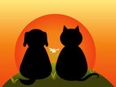 Katze und hund — Stockvektor