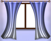 Window with curtains — Stock Photo