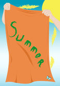 Hands holding a beach towel — Stock Vector