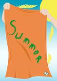 Handen met een strandlaken — Stockvector