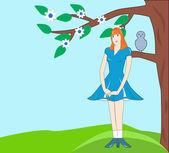 Modest girl in a blue dress — Stock Vector