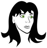 Portrait of a frightened woman — Vector de stock