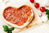 Heart-shaped Margherita Pizza — Stock Photo