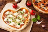 Romantic Heart Shaped Italian Pizza Margherita — Stock Photo