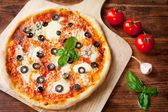 Fresh Homemade Pizza Margherita with Olives — Stock Photo