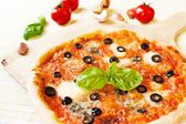 Fresh Homemade Pizza Margherita with Olives — Stockfoto