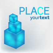 Blue cubes with text — Stock Vector